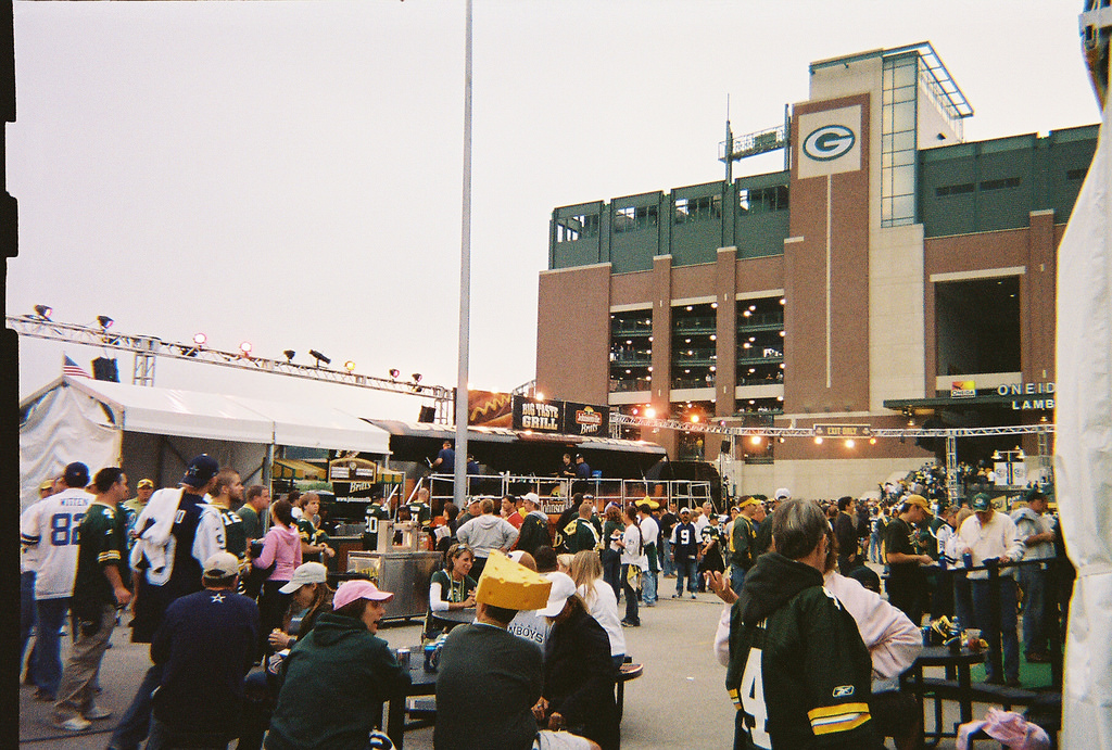 Green Bay Packers fans tailgating at Lambeau Field