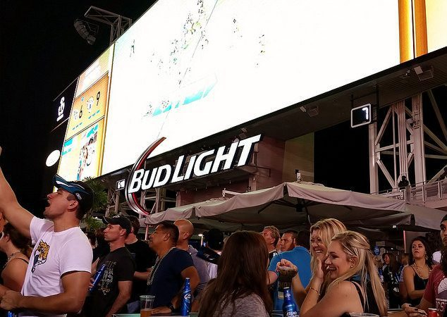 Jacksonville Jaguars fans at Bud Light Party south end zone of TIAA Bank Field