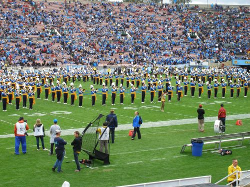 UCLA Marching band playing at the Rose Bowl before the game