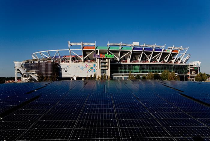 Washington Redskins stadium FedExField parking lot solar panels