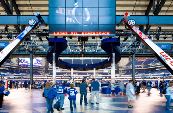 stage at the main entrance inside Lucas Oil Stadium before Indianapolis Colts game