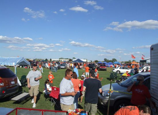 BGSU Falcons fans tailgating on football gameday