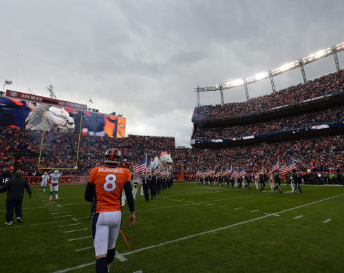 Salute to Service before the Denver Broncos game in Empower Field at Mile High