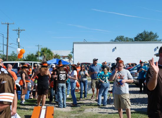Cleveland Browns fans at tailgate lot