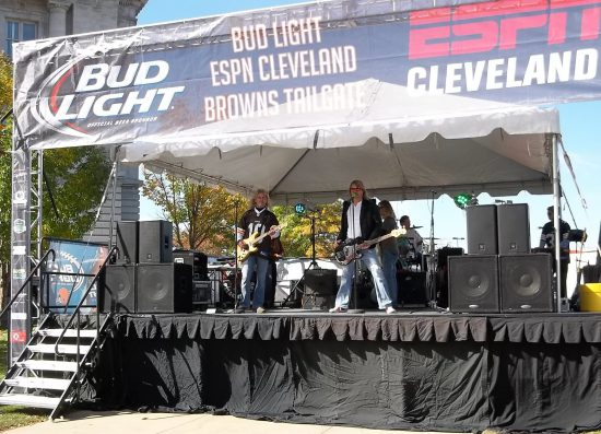 band playing at a Cleveland Browns tailgate