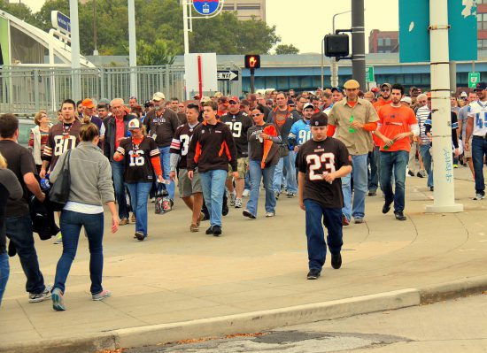 fans pregame tailgating at a Cleveland Browns game outside FirstEnergy Stadium