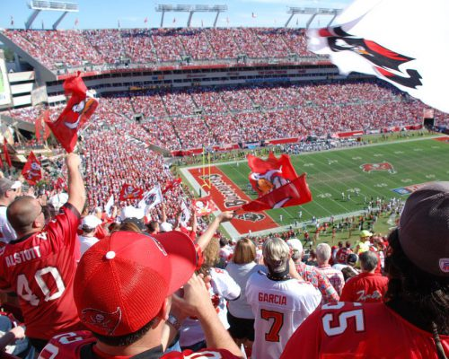 Tampa Bay Buccaneers fans at the stadium on game day
