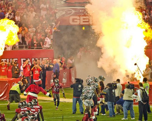 Tampa Bay Buccaneers players entrance and fans at Raymond James Stadium