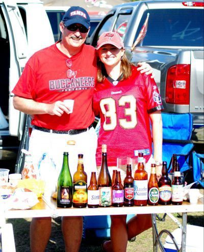 Tampa Bay Buccaneers fans having a tailgate party beers