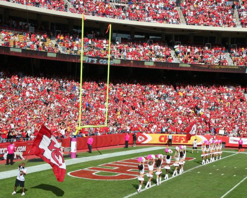 Kansas City Chiefs fans cheerleaders at Arrowhead Stadium