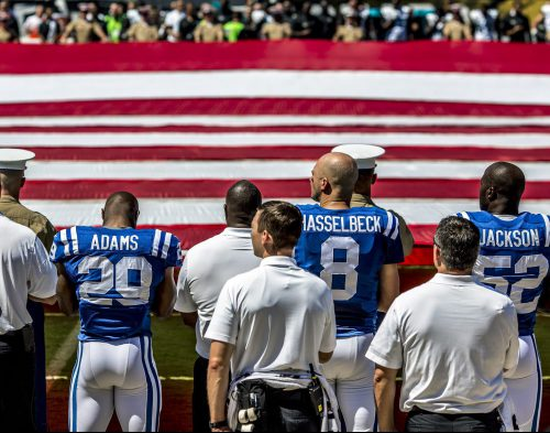 Indianapolis Colts players assemble