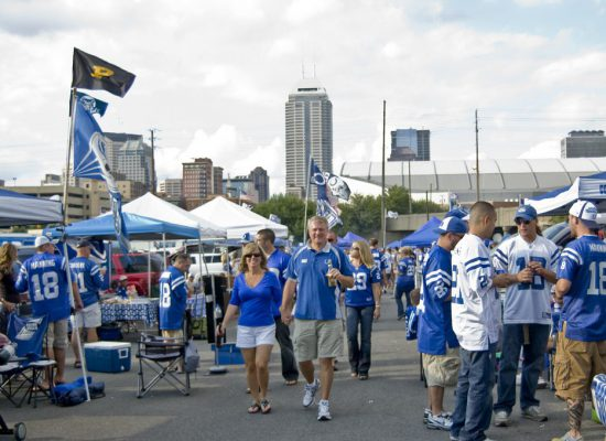 fans tailgate at a Indianapolis Colts game in Lucas Oil Stadium