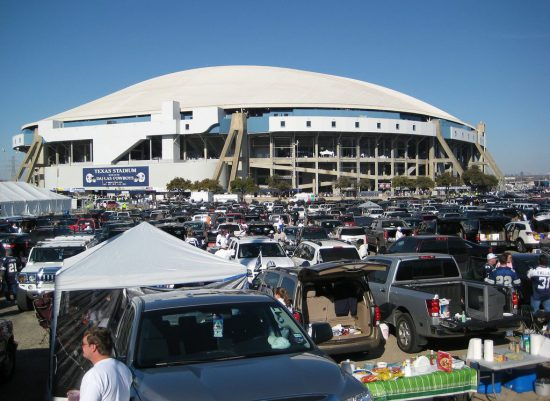 tailgating at the parking lot outside AT&T Stadium