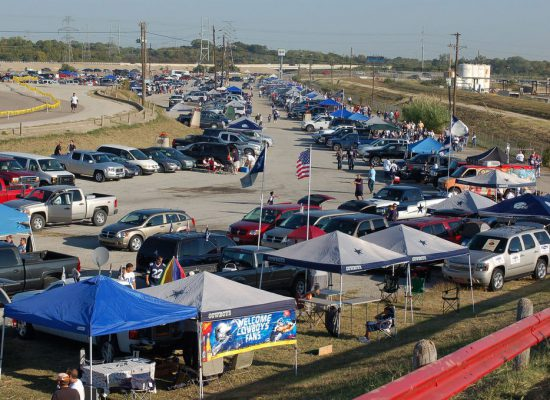 Dallas Cowboys fans tailgating at tailgate lot