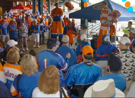 Florida Gators fans at gator nation tailgate