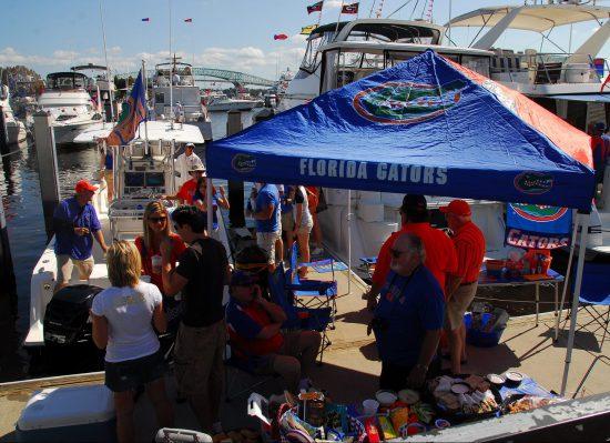 Florida Gators fans tailgating at lot