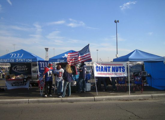 New York Giants tailgaters outside MetLife Stadium