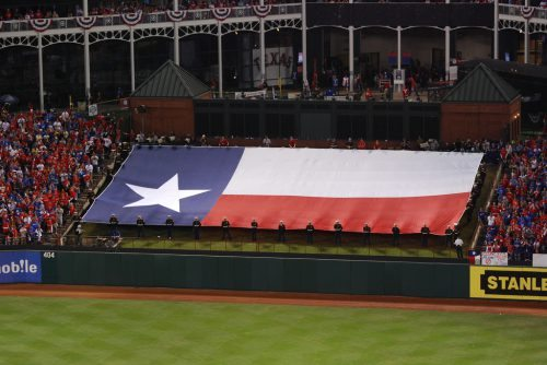 Texas state flag at green hill in Globe Life Park