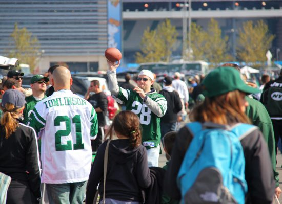 New York Jets fans tailgating at tailgate lot