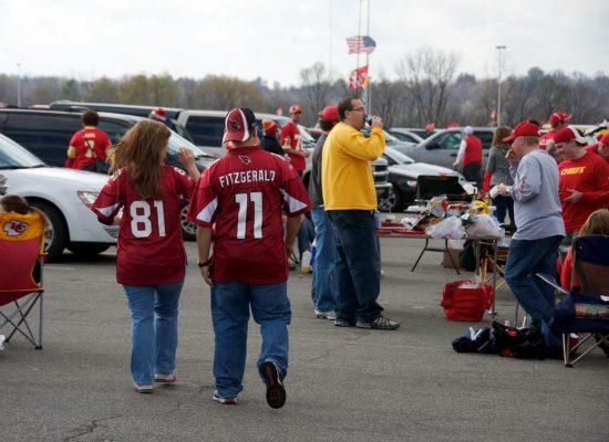 Kansas City Chiefs tailgaters party at Arrowhead Stadium tailgate lot