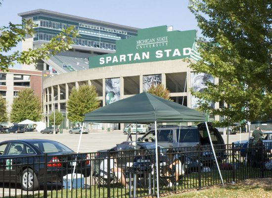 MSU Spartans tailgating outside Spartan Stadium