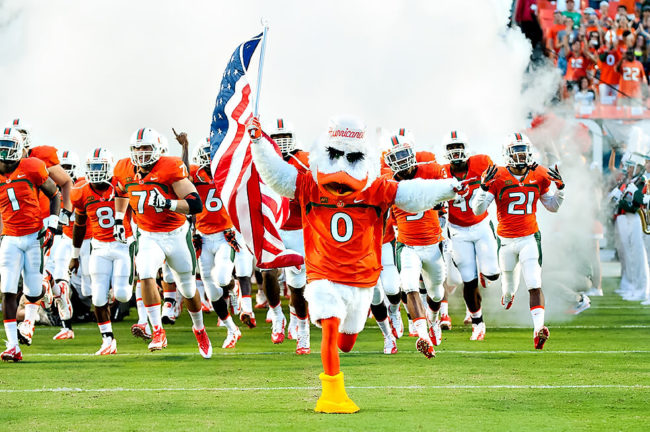 Miami Hurricanes mascot Sebastian the Ibis football team