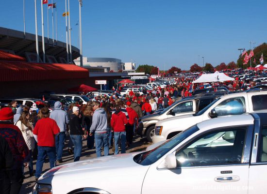 NC State Wolfpack fans at parking lot of stadium