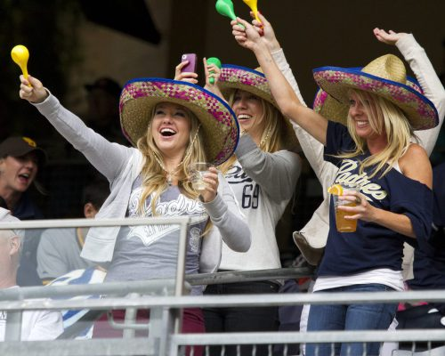 fans cheering at the San Diego Padres game