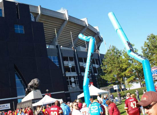 Carolina Panthers fans arriving at the Bank of America Stadium