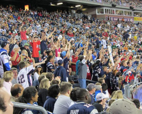 NFL Pats fans cheering at New England Patriots game