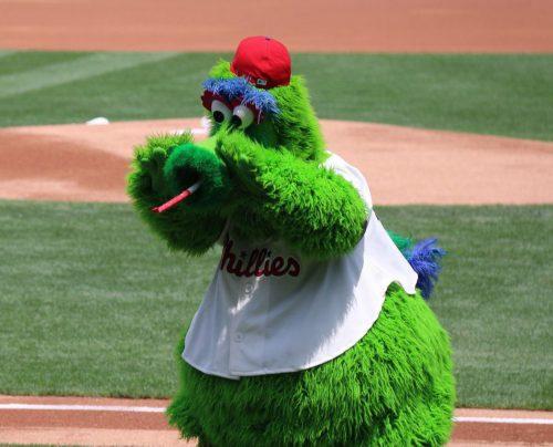 Philadelphia Phillies mascot Phillie Phanatic at the game