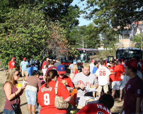 Philadelphia Phillies fans eating tailgate food
