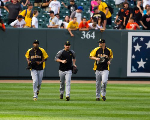Pittsburgh Pirates players at the game