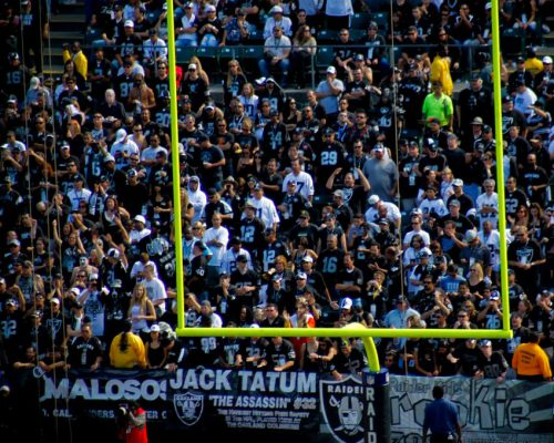 NFL Oakland Raiders fans cheering at the game
