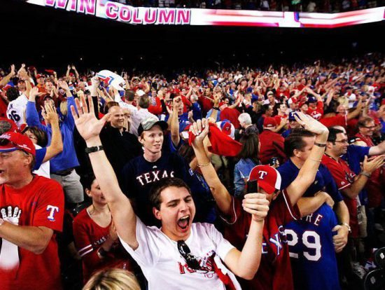 fans cheering at the Texas Rangers game