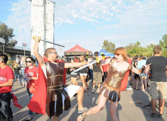 San Diego State Aztecs fans at tailgate lot on football gameday
