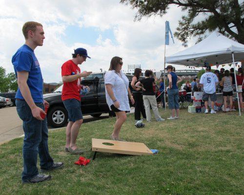 Texas Rangers tailgate game cornhole