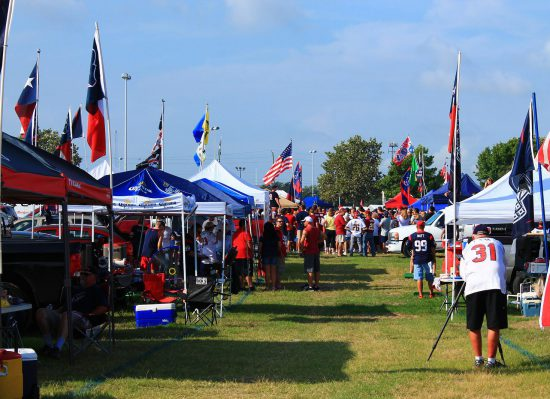 Houston Texans fans at tailgate lot