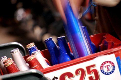 beer bottles Texas Rangers game