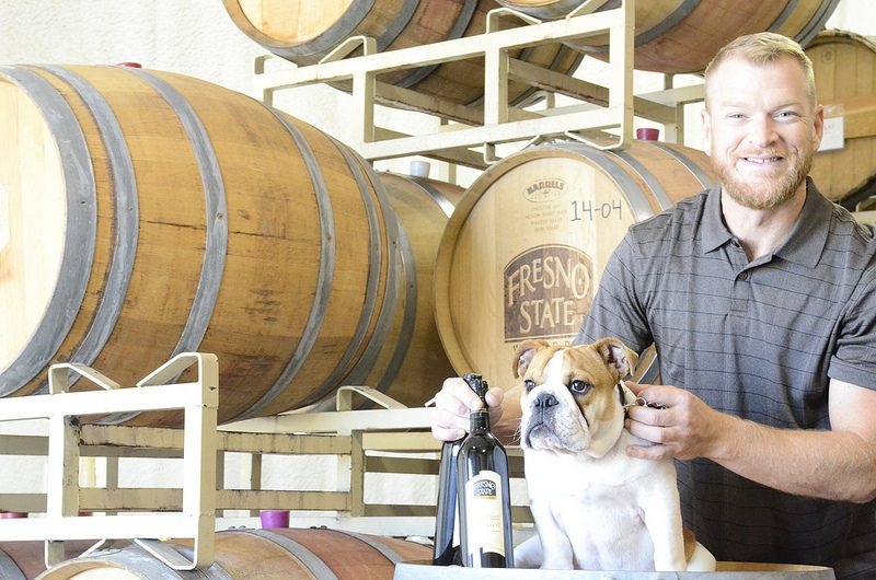 Fresno State Winery and Tailgate Wine winemaker and Bulldog mascot Victor E