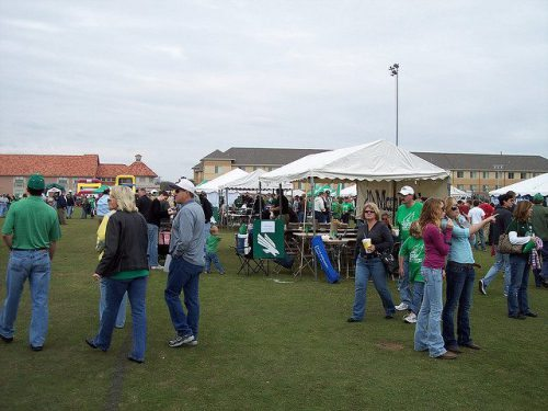 North Texas Mean Green fans tailgating on football gameday