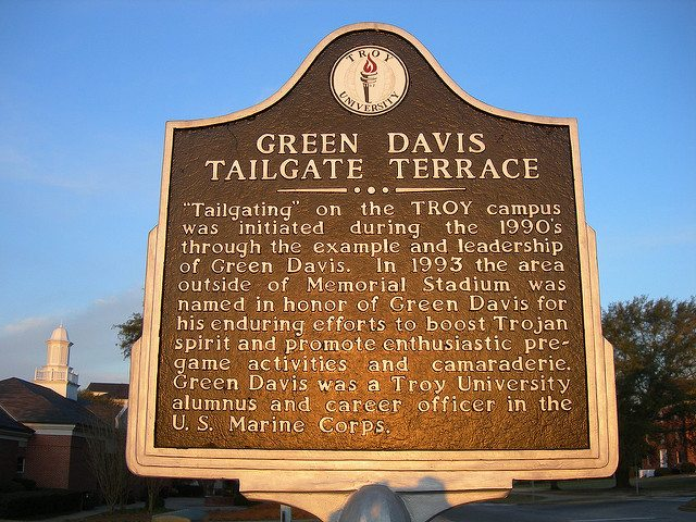 Green Davis Tailgate Terrace Marker of the Troy Trojans