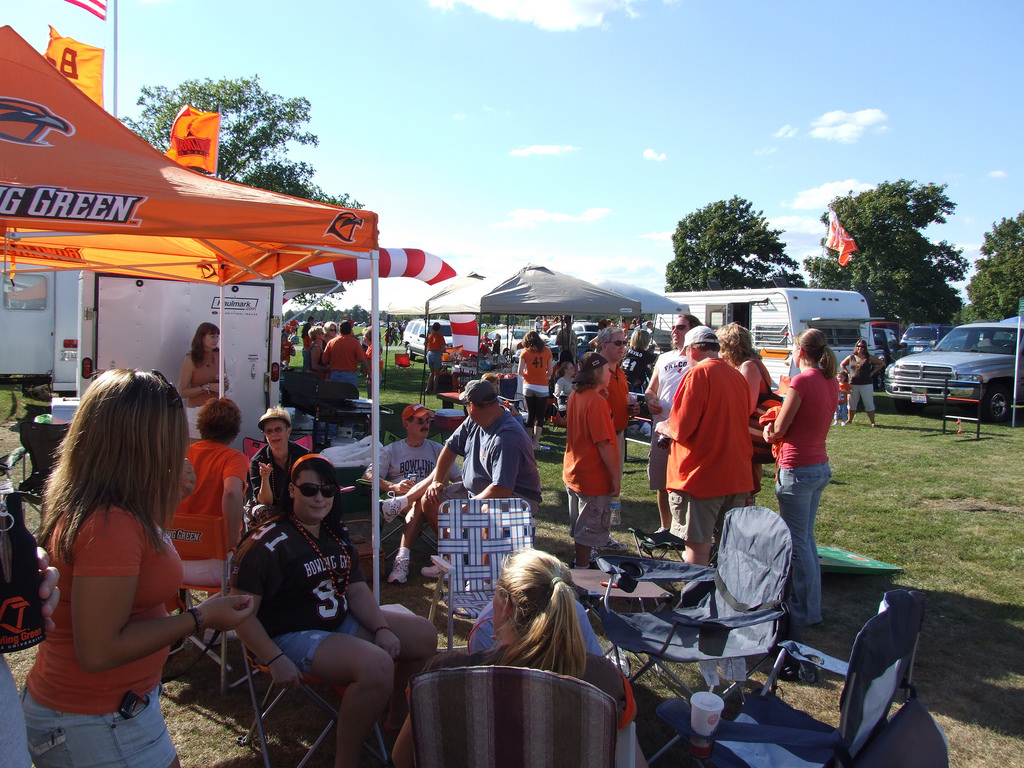 BGSU Falcons fans at tailgate lot on football gameday