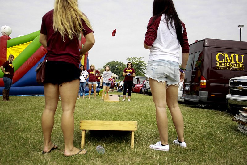CMU Chippewas tailgaters at lot on football gameday