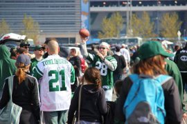 NFL New York Jets fans tailgating outside MetLife Stadium