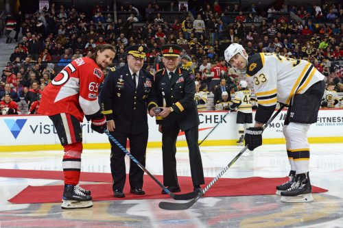Army drop the puck Boston Bruins opening ceremony
