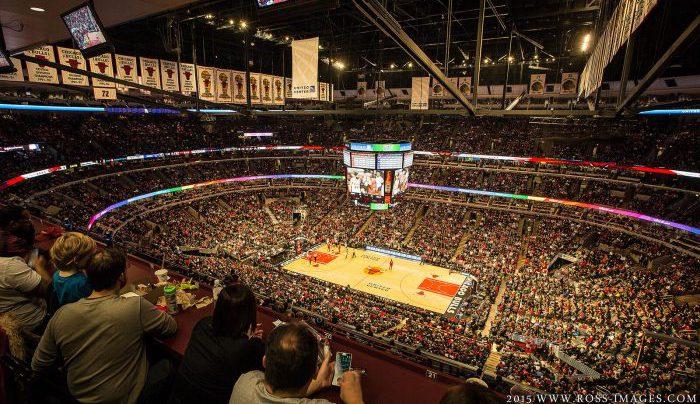Chicago Bulls banners scoreboard