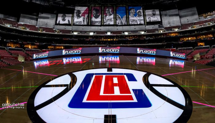 The LAC Playoff Picture Center Court Logo Staples Center