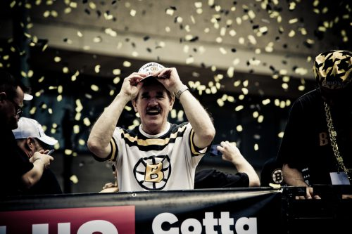 Rene Rancourt celebrates Boston Bruins Parade