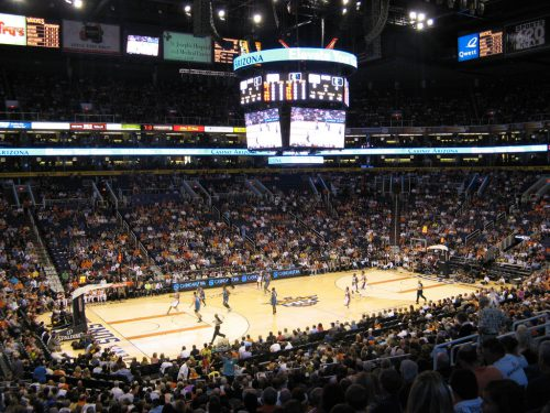 Phoenix Suns basketball scoreboard Talking Stick Resort Arena